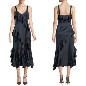 CINQ A SEPT Gigi Dress Navy Ruffle Feather Silk